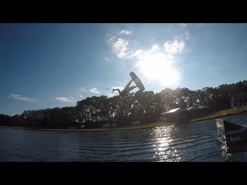Wake Nation Cable Park in Ohio. Flips on a Wakeboard