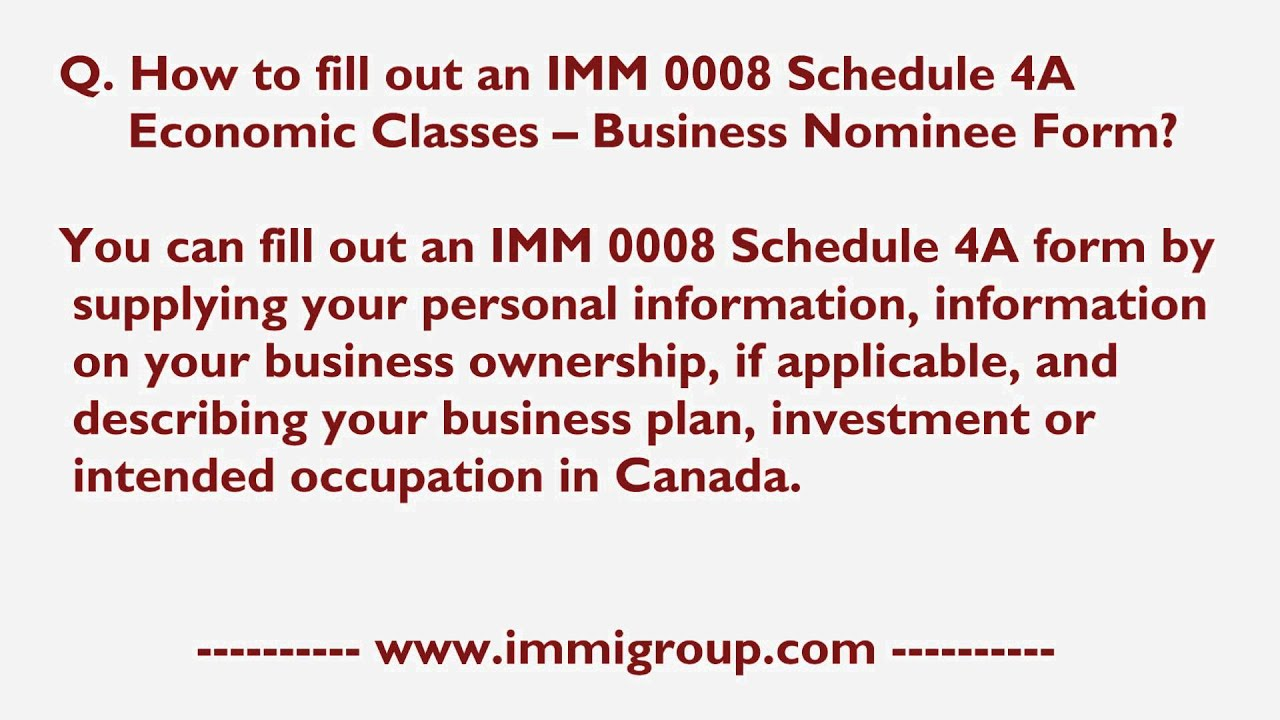 how to fill out an imm schedule a economic classes how to fill out an imm 0008 schedule 4a economic classes business nominee form