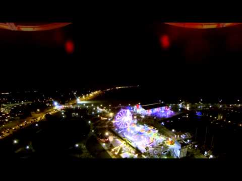 Some night shots with drone over Gulfport Harbor with Fair in background