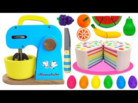 Learn Fruits & Vegetables with Toy Mixer Playset & Velcro Toys Play Making Squishy Rainbow Cake