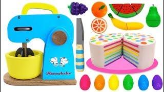 Making Squishy Rainbow Cake with Mrs Rainbow