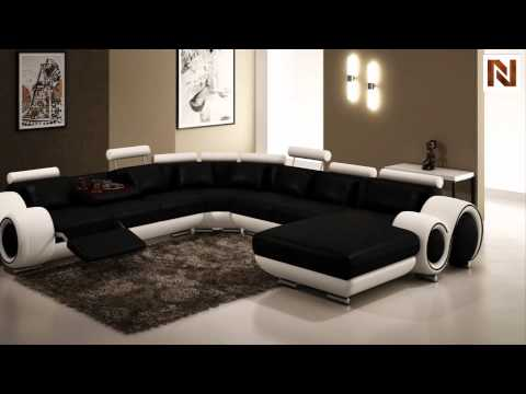 Modern Black And White Frame Sectional Sofa VGEV4084 2 From VIG Furniture