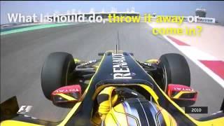 Kubuca , Bahrain 2010 , phone in his F1 racing car