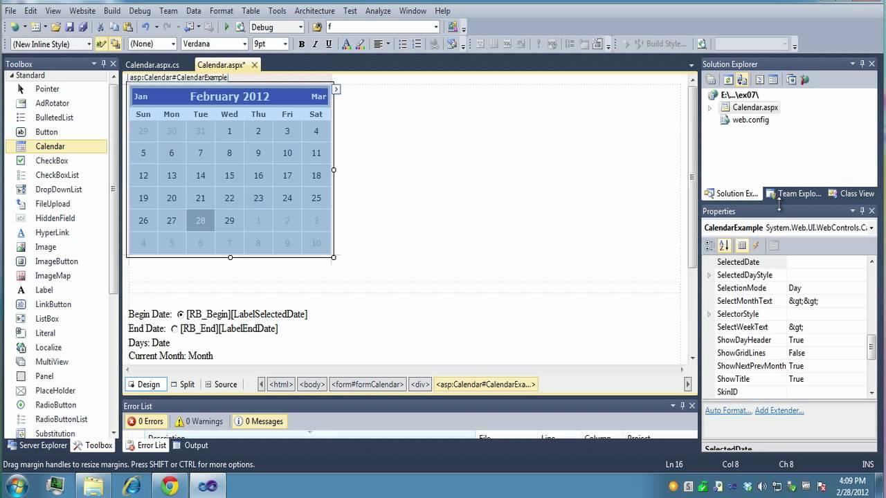 VS2010 Calendar Example