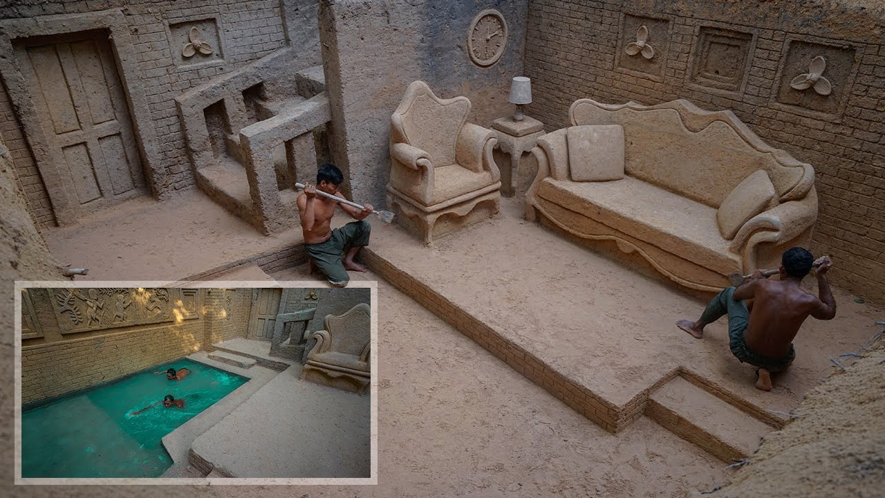 130 Days Building The Most Amazing Underground Water Slide Temple House and Private Living Room