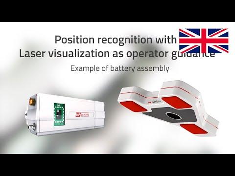 Position determination with worker guidance through laser visualization