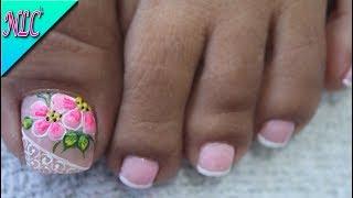 Diseno De Unas Para Pies Flor Sencilla Muy Facil Flowers Nail