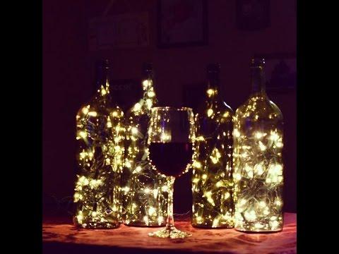 DIY How to make Lighted Wine Bottles