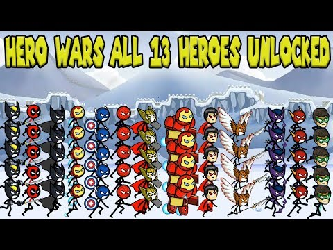 HERO WARS: Super Stickman Defense Update All 13 Heroes Unlocked - 2vs2 HACK GamePlay 2017