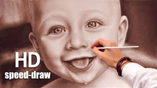 Drawing a face (speed painting) how to draw funny baby