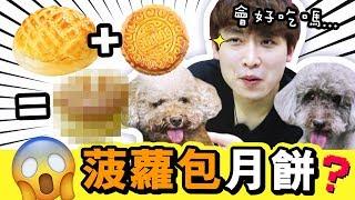 【😱新奇】🍍第一次吃「菠蘿包月餅」!?這真的在吃月餅嗎?😂(中字)