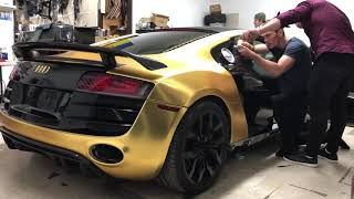 Vinyl wrapping an Audi R8