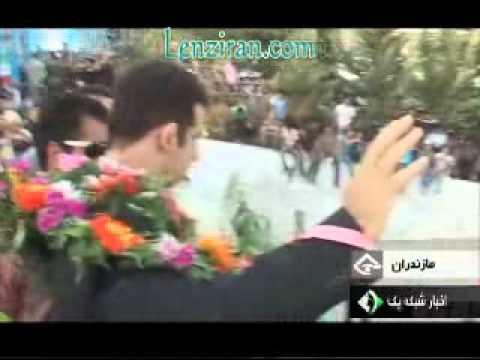 Olympic champion Ghasem Rezaei welcome in Mazanderan with Ey Iran national anthem