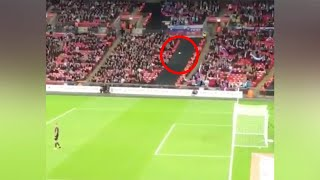 ENGLAND FAN SCORES GOAL WITH A PAPER PLANE