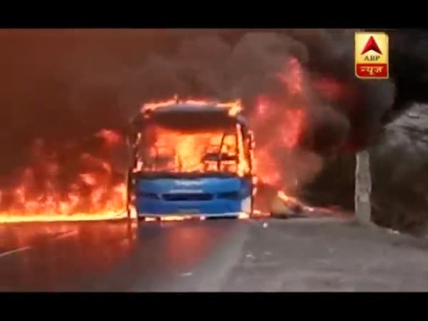 Farmer Protest: Public transport vehicles set on fire by protesters in Dewas