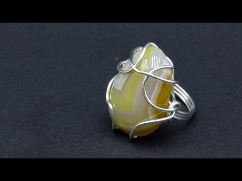 Master class Ring with wire cabochon