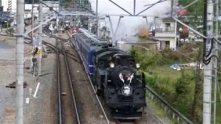 東武鉄道C11-207「SL大樹」鬼怒川温泉駅発車【日章旗】