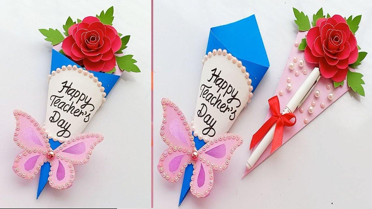 diy teacher's day pen gift card  how to make teacher's