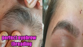 Perfect shape eyebrow threading /most satisfying eyebrow threading technique/big eyebrow threading
