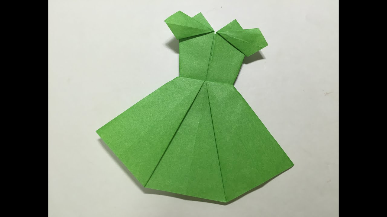 折り紙ランド Vol,434 ドレスの折り方 Ver.2 Origami How to fold a dress Ver2 , YouTube