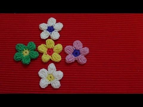 Crochet: Flor 5 Pétalos Con Piña De Puntos Altos Dobles (flower Bobbles)
