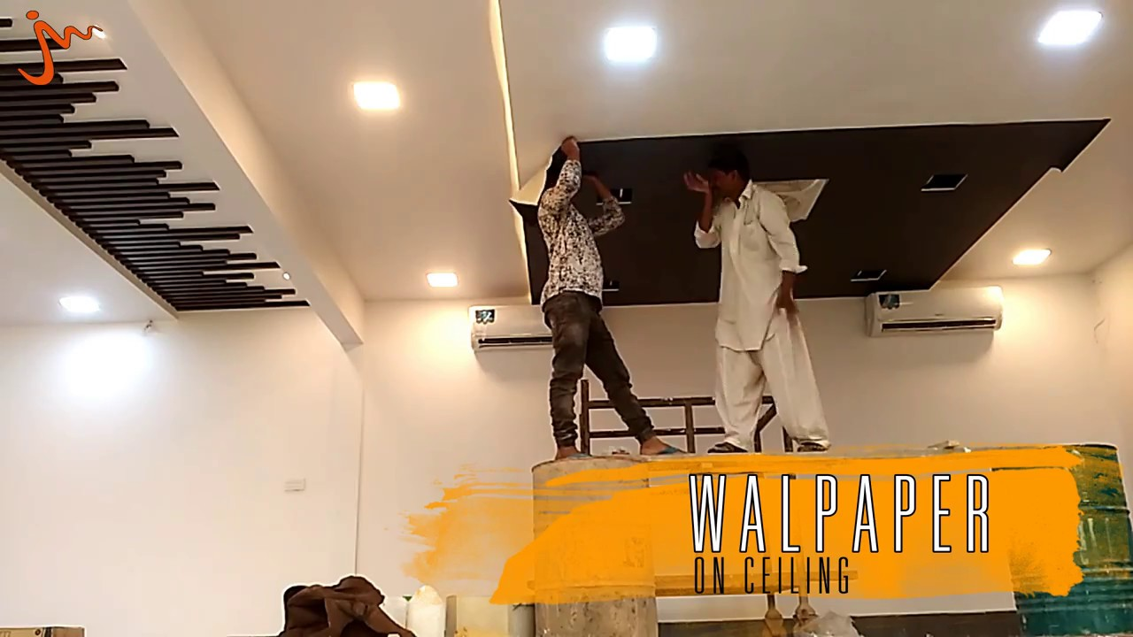 Fixing of Wallpaper on Ceiling at Shabbir Tiles Landhi ...