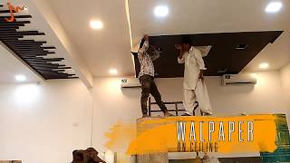 Fixing of Wallpaper on Ceiling at Shabbir Tiles Landhi Karachi - Pakistan II MobZee Interiors