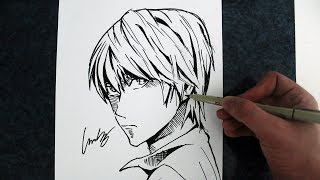 Como Desenhar Light Yagami [KIRA/DEATH NOTE] - (How to Draw Kira) - SLAY DESENHOS #204