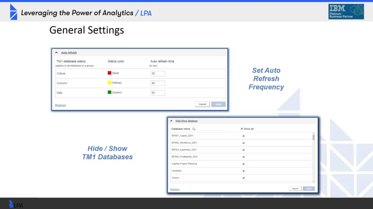 Planning Analytics (Cloud) - Monitor & Administer Dashboard and IBM Cloud  Infrastructure Changes
