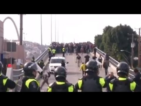 Migrant StandOff On Border Crossing. US-Mexico/ Tijuana