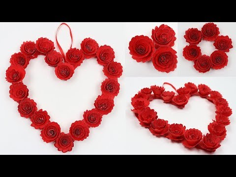 How to Make Paper Heart Wall Hanging with Roses Flowers Paper Craft DIY Easy Wall Decoration Ideas