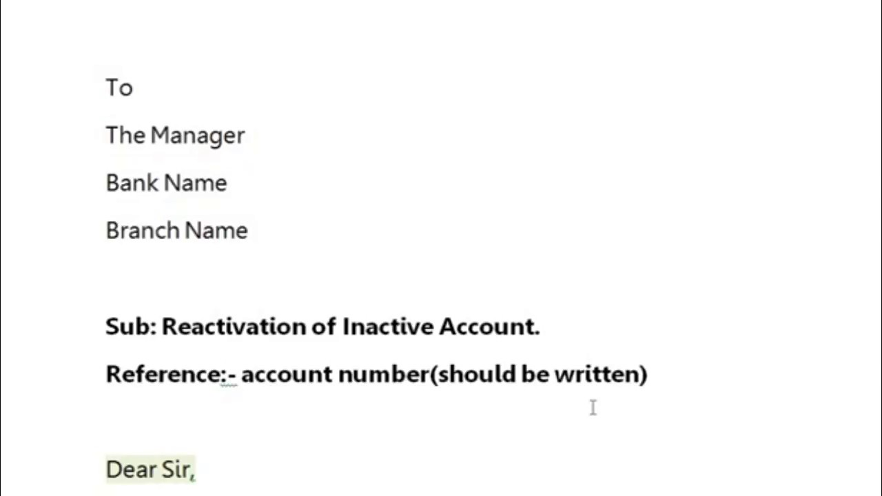 How To Write A Letter Bank Manager Reactivate Dormant