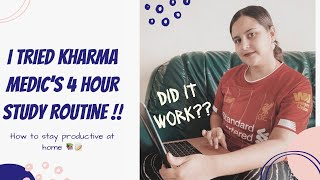 I TRIED KHARMA MEDICS 4 HOUR STUDY TECHNIQUE | How To Stay Productive At Home | Study With Me