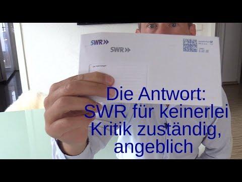 Die Antwort: SWR für keine Kritik zuständig, angeblich. Verhaltensänderung Fehlanzeigte!