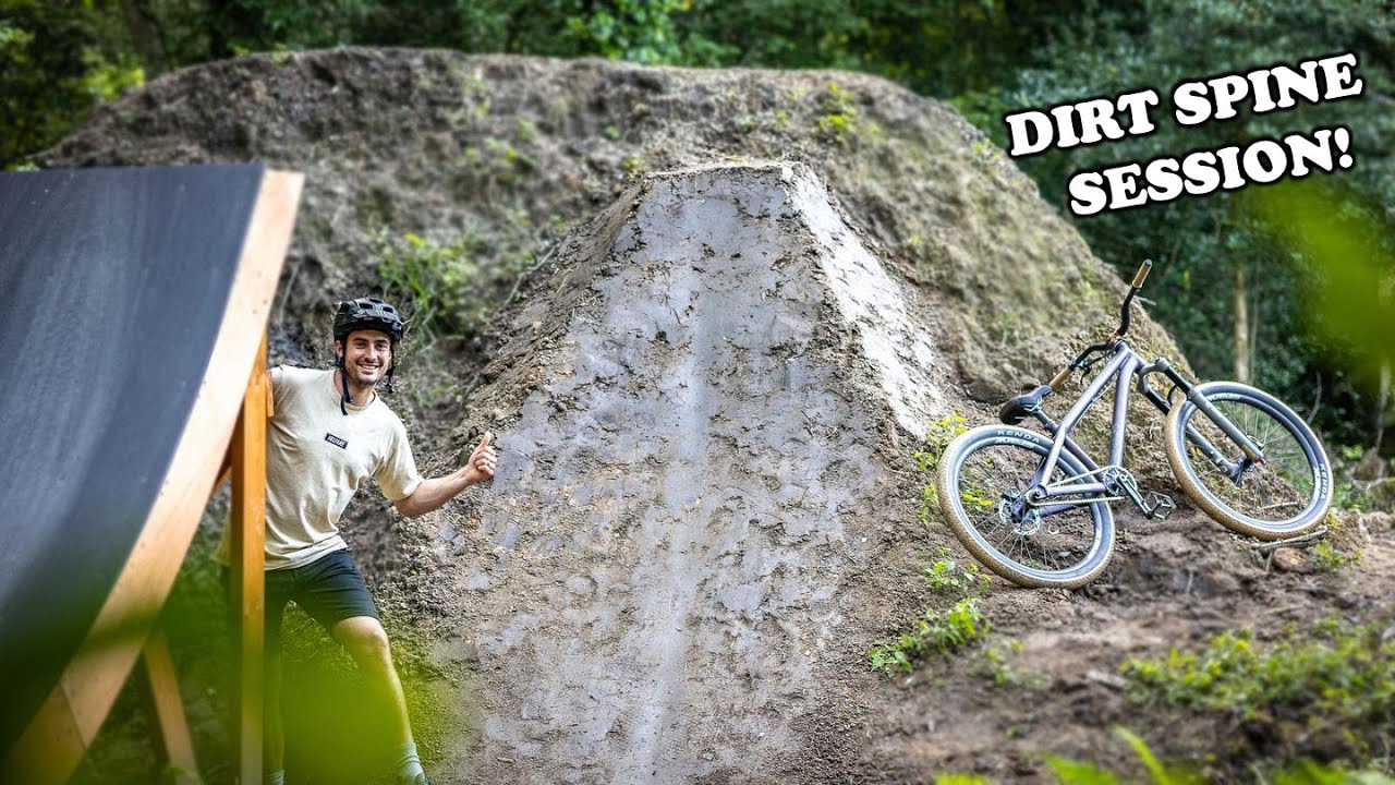 We Build and Ride a MASSIVE 9ft MTB Dirt Spine...  And C A Finally Tries the Jumps!
