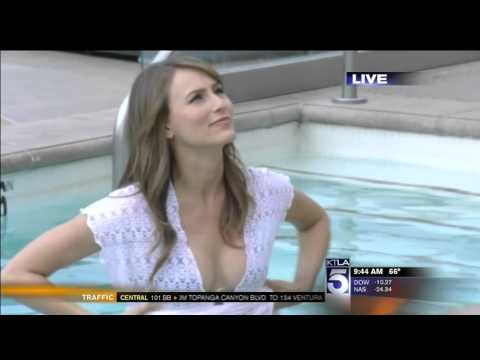 News Anchors watch Danielle Demski get into Vegas pool & reveal bikini with Jessica Holmes