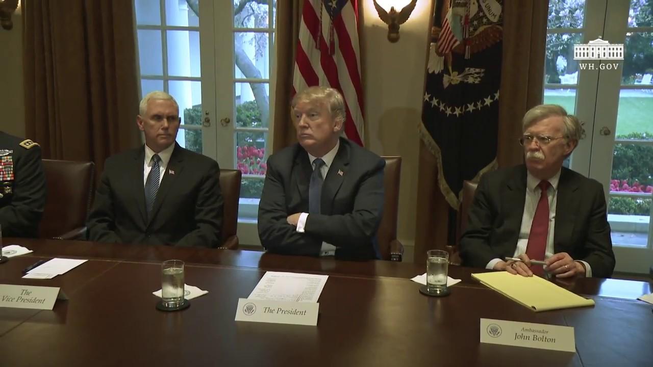 Hasil gambar untuk President Trump Receives a Briefing from Senior Military Leadership