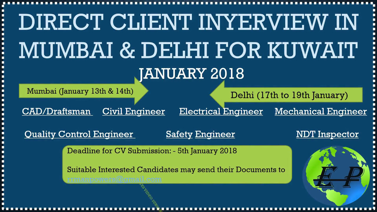 kuwait job 2018 direct client interview in mumbai delhi submit