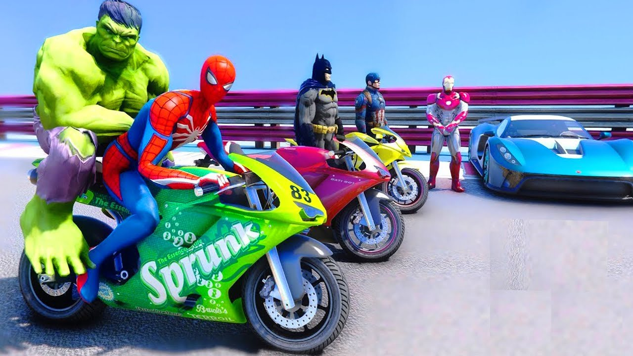 SpiderMan and Motos Long Jump Challenge With Hulk, Thor, Iron Man Superheroes - GTA 5