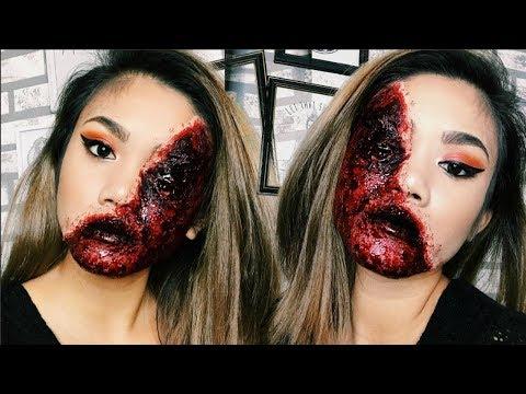 EASY HALLOWEEN: Half Glam/Half Bloody Flesh Makeup Tutorial