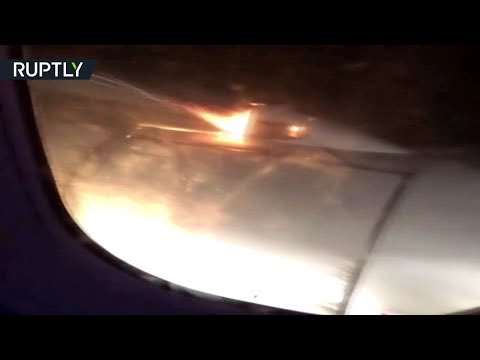 Ту-204 вылетел из Уфы в Сочи с пылающим двигателем — видео из салона