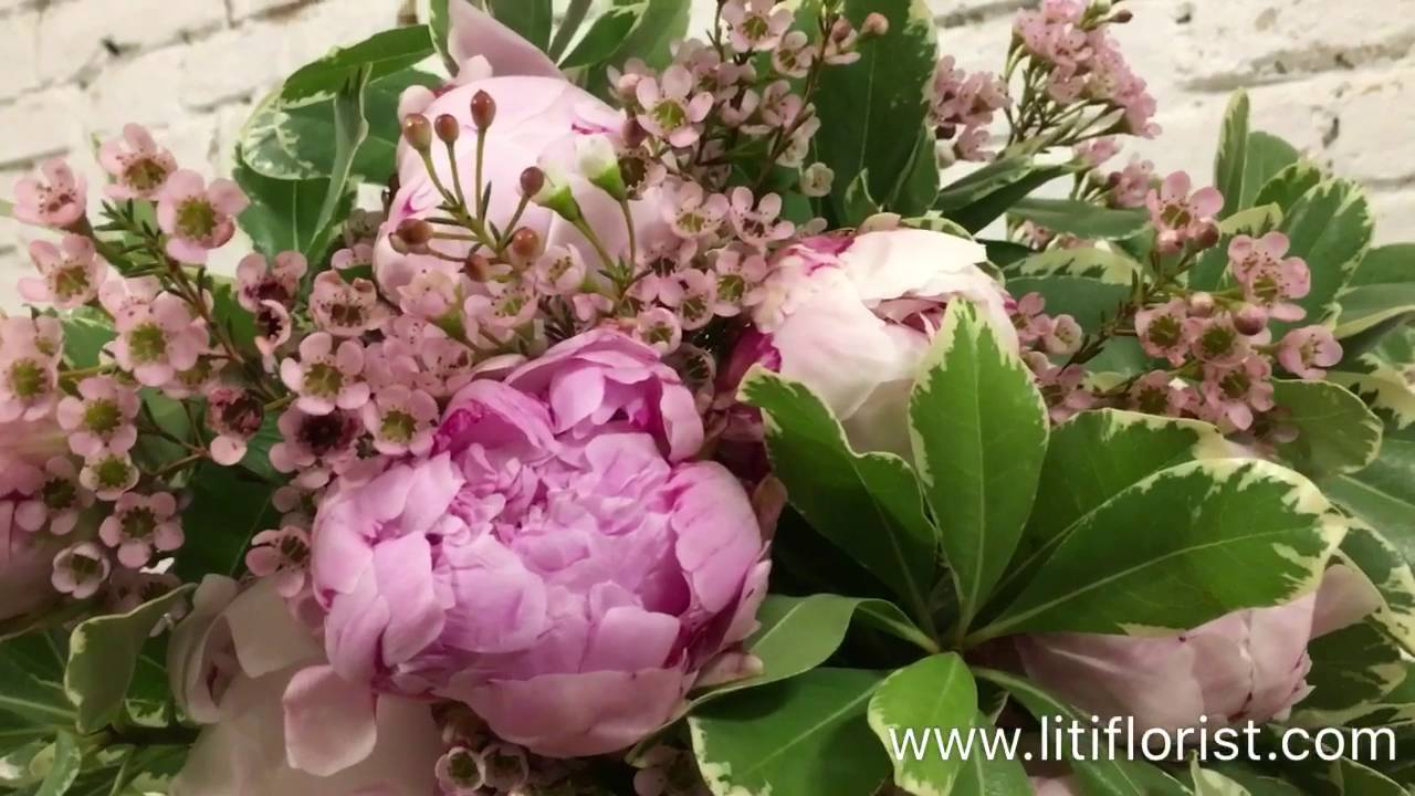 Peonies & Wax flowers bouquet - YouTube