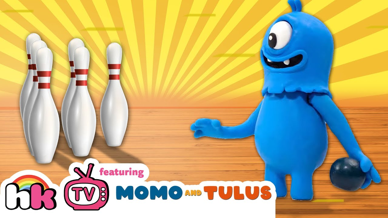 HooplaKidz TV - Roll and Roll Bowling Fun | Momo and Tulus - Funny Monsters | Cartoons for Kids
