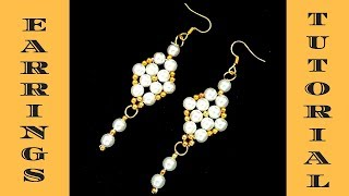 Elegant pearl earrings. Beaded earrings making. DIY earrings-easy , cheap, fast