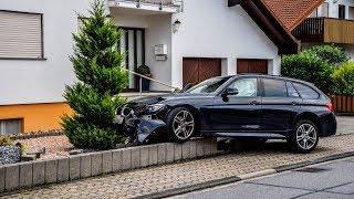 ++ BMW FLIEGT ÜBER MAUER ++ [SPEKTAKULÄRER CRASH] RADFAHRERIN nimmt BMW die VORFAHRT