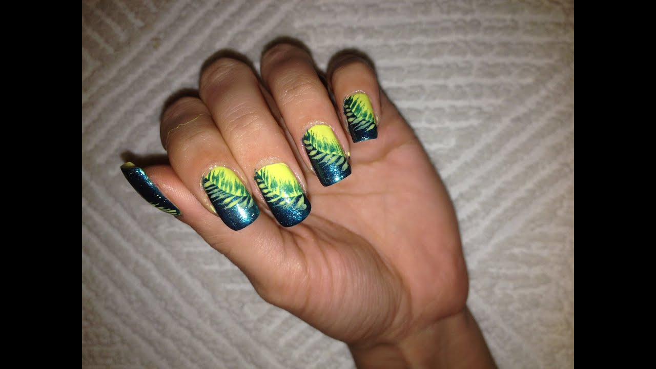Easy Green Feather Nail art Tutorial.. Grünen Federn nageldesign ...