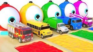apprendre les couleurs avec les Vehicules de rue Camion à ordures des balles