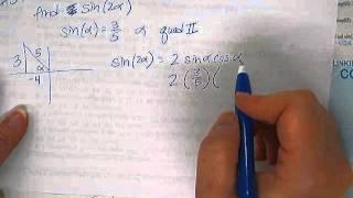 Trig 3-5 problem 59 - Find the Sin 2alpha given sin alpha
