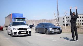 Mercedes-Benz AMG E63S vs BMW X5M vs Mitsubishi Evolution 9