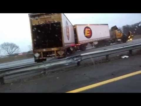 1.18.15 NJ Turnpike I-95 Crash - Black Ice - Trailer flip